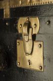 Antique steamer trunk lock. In brass, leather and wood, custom made in Paris before WWII Royalty Free Stock Photos