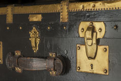 Antique steamer trunk lock. And latches in brass and wood custom made in Paris before WWII Stock Images