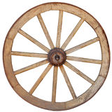 Antique Wagon Wheel on White Background. Antique, steel rimmed, wooden wagon wheel with twelve spokes, isolated against a white backround Royalty Free Stock Photo