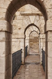 Antique stone bridge with archs in Teruel. Architecture backgrou Royalty Free Stock Image