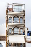 Beautiful stone  hotel  building  in Sitges,Spain Royalty Free Stock Photos