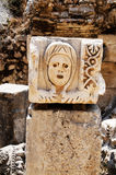 Antique stone mask in theatre Myra. Tutkey. Royalty Free Stock Image