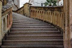 An antique stone staircase in Monaco. In summer Royalty Free Stock Photography