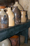 Antique Stoneware Jugs. A collection of antique stoneware jugs and crocks from around New England. (Hadley Farm Museum, Hadley, MA Stock Photos