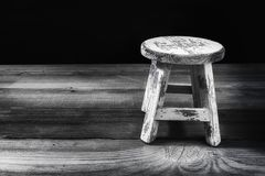 Antique Stool presented on a old Table. Antique stool presented on an old table oriented to the right side of the image with negative space Stock Photos