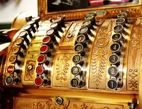 Antique store cash register buttons close Stock Photos