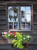 Antique Store Window. Old Window with Flower Box Stock Photo