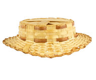 Antique straw hat. Isolated on white Stock Image