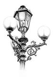 Antique street lantern drawing handmade Royalty Free Stock Photo