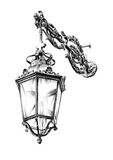 Antique street lantern drawing handmade Stock Images