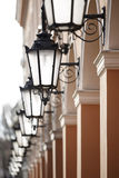 Antique street lights row Royalty Free Stock Photos