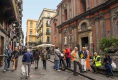 Antique street in Naples - Largo Donnaregina stock photography
