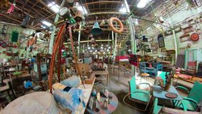 Antique shop in Indonesia. Antique street shop with old, vintage items. antiques for sale. Panorama 360 Bali Indonesia stock video