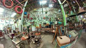 Antique shop in Indonesia. Antique street shop with old, vintage items. antiques for sale.panorama 360 Bali Indonesia stock video