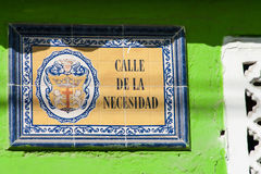 Antique street sign. In Cartagena de Indias Stock Photo