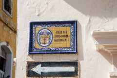 Antique street sign. In Cartagena de Indias Royalty Free Stock Photography
