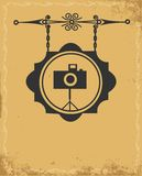 Antique street sign of photo store Royalty Free Stock Photography