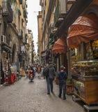 Antique street - Via San Gregorio Armeno ,Naples stock photos