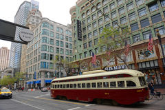 Antique streetcar on Market Street, San Francisco, USA Stock Image