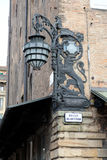 Antique Streetlight, square del nettuno Bologna. Detail of the old street lamp palace of Neptune in Bologna royalty free stock image