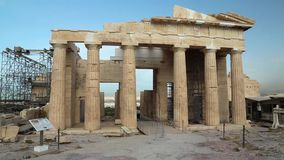 Antique structure in Athenian Acropolis, Greece stock footage