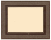 Antique Studio Photo Frame Bro. Studio portrait frame from 1900.  Chocolate brown frame, embossed with a leather pattern. Dark brown boarder Royalty Free Stock Photo