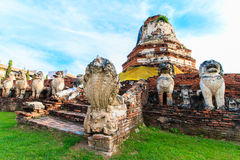 Antique Stupa surrounded by Lion statue cambodia style in Thammikarat Temple Stock Photography