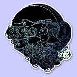 Antique style cartography Boreas wind icon. Male head resting on a curly ornate cloud and blowing wind . Decorative. Element for tattoo textile prints. EPS10 Royalty Free Stock Image