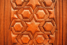 Antique style design with islamic patterns on wooden door Royalty Free Stock Images