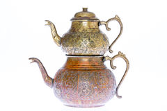 Antique style engraved copper Turkish teapot Royalty Free Stock Photography