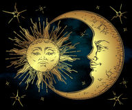 Free Antique Style Hand Drawn Art Golden Sun, Crescent Moon And Stars Over Blue Black Sky. Boho Chic Design Vector Stock Image - 81451971