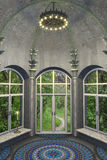Antique Style Interior. Luxury 3d antique style interior with an arch dome, mosaic floor, big windows and beautiful garden view Stock Photos