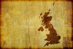 Antique Style Map of Great Britain. A grunge, antique style map of Great Britain (England, Ireland, Scotland and Wales) burned on to old wood board. With Copy Stock Image