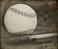 Antique style photograph of baseball and glove Royalty Free Stock Photo