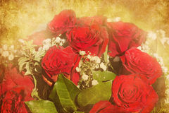 Antique style picture of a rose bouquet Stock Photos