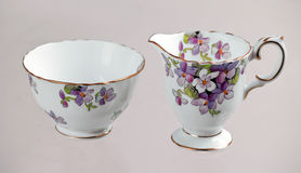 Antique sugar bowl and cremer Royalty Free Stock Image