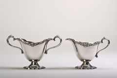Antique Sugar and Creamer Silver. Stock Photo