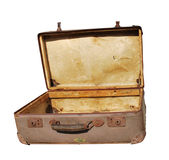 Antique Suitcase. Isolated on White Background Royalty Free Stock Photos