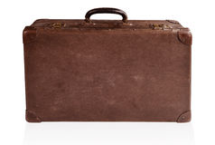 Antique suitcase. Old antique brown leather suitcase isolated on white Royalty Free Stock Images