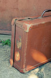 Antique suitcase. Close up of antique suitcase. Vintage processing Royalty Free Stock Photography