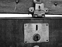 Antique Suitcase Latch. Close-up of the locking latch of an antique suitcase stock image