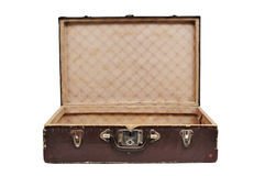 Antique suitcase. Open antique suitcase on a white background Stock Photo