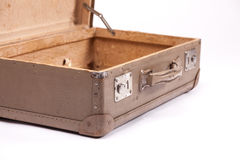 Antique suitcase. Opened, white background, close up concept Stock Photo