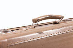 Antique suitcase. Travelling with antique suitcase, white backgorund, close up concept Stock Image