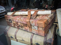 Antique suitcase and trunk spotted in Paris shop window Royalty Free Stock Photography