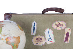 Antique Suitcase with World Ball Stock Photos