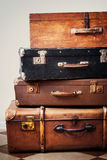 Antique Suitcases in a Stack. Vintage trunks Royalty Free Stock Photography