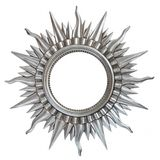 Antique sun metal frame. An antique silver bronze metal frame with sun shape isolated on white background Royalty Free Stock Photos