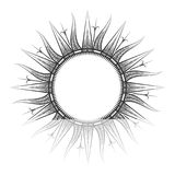 Antique sun tarot, astrological symbol sketch. Antique sun sketch. Sun tarot and astrological symbol, engraved vector illustration Stock Image