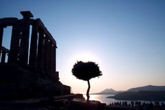 Antique sunset. Sunset at the Temple of Cape Sounion, Greece royalty free stock photos